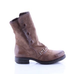 TOBACCO BOOT WITH BUTTONS AND METAL DETAIL - SAMPLE SALE SIZE 37 - FINAL SALE