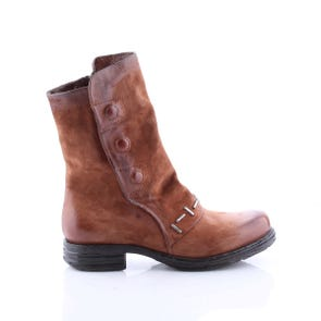 WHISKEY BOOT WITH BUTTONS AND METAL DETAIL - SAMPLE SALE SIZE 37 - FINAL SALE
