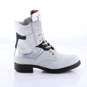 WHITE AND HOLOGRAPHIC LACE UP BOOT - SAMPLE SALE SIZE 37 - FINAL SALE