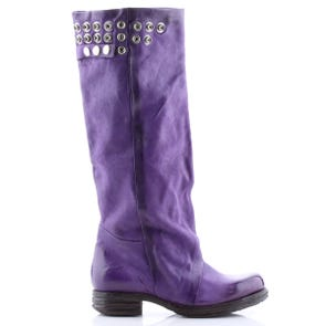 PURPLE KNEE HIGH BOOT WITH SNAP DETAIL - SAMPLE SALE SIZE 37 - FINAL SALE