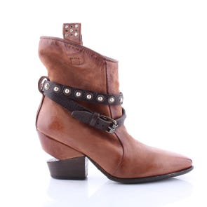WHISKEY NOTCH HEEL POINTED TOE BOOTIE WITH STRAPS - SAMPLE SALE SIZE 37 - FINAL SALE