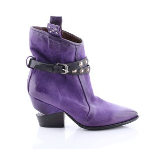 PURPLE NOTCH HEEL POINTED TOE BOOTIE WITH STRAPS - SAMPLE SALE SIZE 37 - FINAL SALE