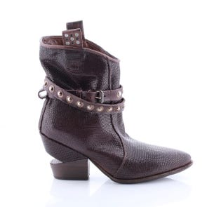 BROWN POINTED TOE STRAP BOOT - SAMPLE SALE SIZE 37 - FINAL SALE