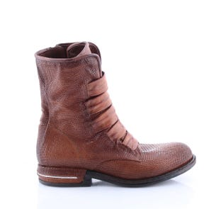 TEXTURED CAMEL BOOT WITH STRAPS - SAMPLE SALE SIZE 37 - FINAL SALE