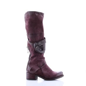 EGGPLANT TALL BOOT WITH ZIPPER POCKET - SAMPLE SALE SIZE 37 - FINAL SALE