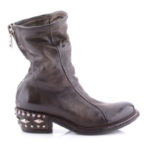 GREEN STUDDED HEEL BOOT - SAMPLE SALE SIZE 37 - FINAL SALE