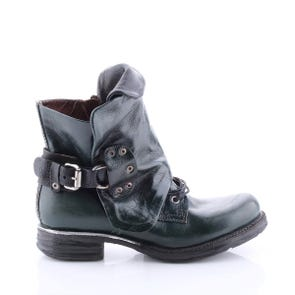 TEAL LACE UP BOOT WITH BLACK TONGUE - SAMPLE SALE SIZE 37 - FINAL SALE