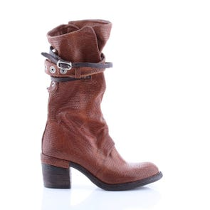 CAMEL TEXTURED MID CALF BOOT WITH STRAPS - SAMPLE SALE SIZE 37 - FINAL SALE