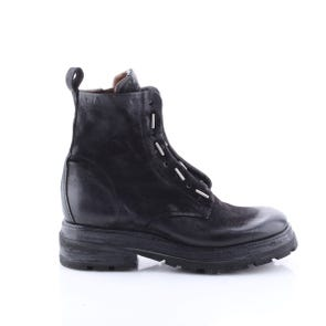 BLACK SQUARE TOE BOOT WITH METAL TOGGLES - SAMPLE SALE SIZE 37 - FINAL SALE