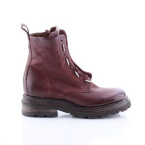 WINE SQUARE TOE BOOT WITH METAL TOGGLES - SAMPLE SALE SIZE 37 - FINAL SALE