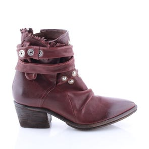 WINE POINTED TOE BOOTIE WITH STUDS - SAMPLE SALE SIZE 37 - FINAL SALE