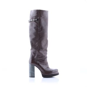 SMOKE PLATFORM HEEL BOOT WITH SNAP DETAIL - SAMPLE SALE SIZE 37 - FINAL SALE