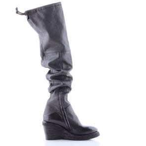 BLACK WEDGE OTK BOOT - SAMPLE SALE SIZE 37 - FINAL SALE